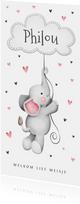 Geboortekaartje lief olifantje hartjes wolkje