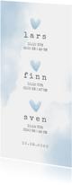 Geboortekaartje meerling met blauwe hartjes en waterverf