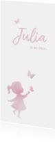 Geboortekaartje meisje met silhouet in waterverf en vlinder