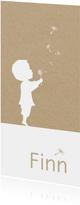 Geboortekaartje met silhouet jongen en paardenbloempluisjes