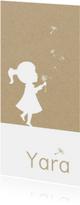Geboortekaartje met silhouet meisje en paardenbloem pluisjes