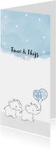 Geboortekaartje met tweeling olifantjes en ballonnen