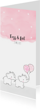 Geboortekaartje met tweeling olifantjes en roze ballonnen