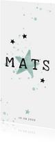 Geboortekaartje mintgroene spetters en sterren langwerpig