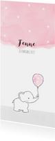 Geboortekaartjes - Geboortekaartje olifantje met roze ballon en sterren