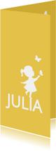 Geboortekaartje silhouet vlinders meisje langwerpig