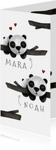Geboortekaartje tweeling panda's met takjes lief