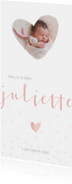Geboortekaartje voor een meisje met hartjes