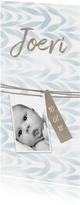 Geboortekaartje waterverf met label voor jongen