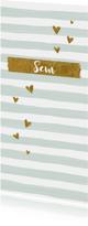 Geboortekaartjes - Hip geboortekaartje jongen gouden hartjes en groen