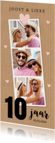Jubileumkaart 10 jaar fotocollage kraft roze hartjes