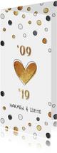 Jubileumkaart 10 jaar met jaartallen, hart en confetti