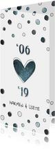 Jubileumkaart 12,5 jaar '06 met jaartallen, hart en confetti