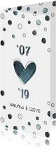 Jubileumkaart 12,5 jaar '07 met jaartallen, hart en confetti