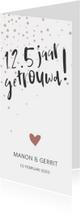 Jubileumkaart '12,5 jaar getrouwd!' met confetti