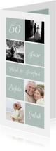 Jubileumkaart met foto's, vakjes en aanpasbare achtergrond