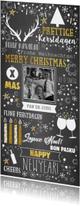 Kerst feestelijke typografische kaart krijtbord -look
