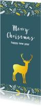 Kerstkaarten - Kerst - Gouden rendier