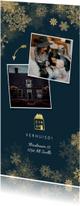 Kerst-verhuiskaart met gouden accenten en foto's