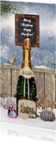 Kerstkaart champagnefles in sneeuw
