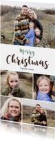Kerstkaart collage 5 foto's langwerpig - BK