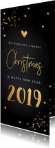 Kerstkaarten - Kerstkaart langwerpig donker goud confetti