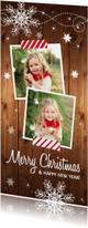 Kerstkaart langwerpig donker hout foto