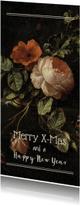 Kerstkaart langwerpig met vintage bloemen