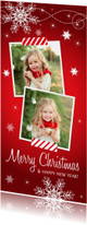 Kerstkaart langwerpig rood foto sneeuwvlokken
