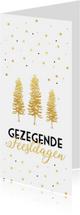 Kerstkaarten - Kerstkaart met gouden kerstbomen