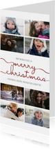 Kerstkaart met sierlijk 'merry christmas' en foto's
