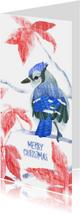 Kerstkaarten - Kerstkaart met vogel en bloemen