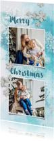 Kerstkaarten - Kerstkaart winters blauw met foto
