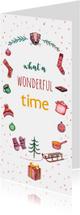 Kerstkaarten - Kerstkaart wonderful time met illustraties