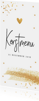 Menukaarten - Kerstmenukaart langwerpig gouden confetti
