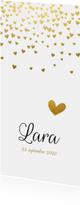 Klassiek geboortekaartje gouden hartjes