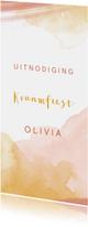 Uitnodigingen - Kraamfeest meisje waterverf roze en oker geel