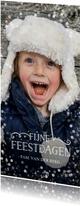 Kerstkaarten - Langwerpige kerstkaart met grote foto en goudlook confetti