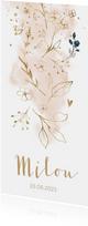 Lief aquarel bloemen geboortekaartje meisje