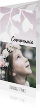 Lieve, stijlvolle communiekaart voor meisje met bloemen