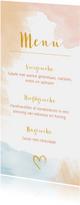 Trouwkaarten - Menu bruiloft waterverf peach roze blauw