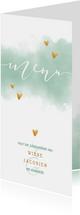 Menukaart 'MENU' met waterverf en gouden hartjes