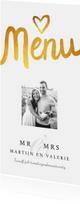 Menukaart trouwmenu eigen foto klassiek met goud
