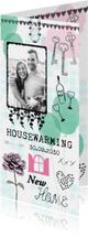New Home felicitatiekaart met ballonnen, sleutels en foto