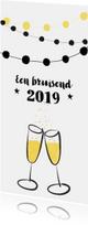 Nieuwjaarskaart feest champagne