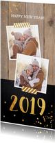 Nieuwjaarskaart foto hout krijtbord goud