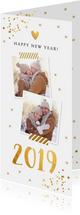 Nieuwjaarskaart langwerpig goud confetti foto