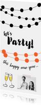 Nieuwjaarskaart uitnodiging party slingers
