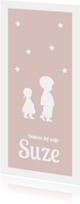 nostalgisch silhouet geboortekaartje zusje
