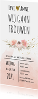 Romantische trouwkaart met watercolor bloemen